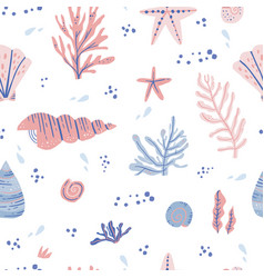 Seaweeds and shells hand drawn seamless pattern vector