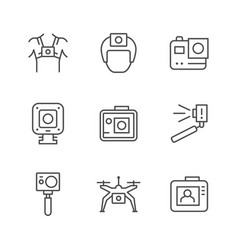Set line icons action camera vector