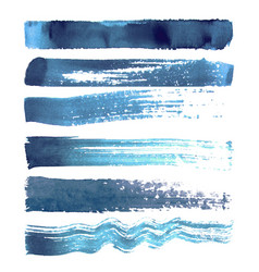Set of blue navy brush strokes vector