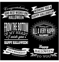 set of labels for Halloween holiday vector image