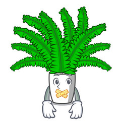 Silent fresh fern branch isolated on mascot vector