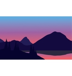 Silhouette of mountain by the lake vector image