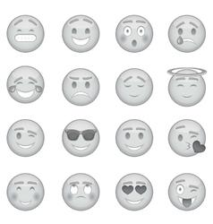 Smiles icons set monochrome style vector image