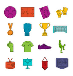 Soccer football icons doodle set vector