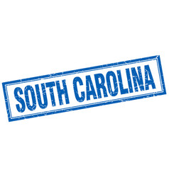 South carolina blue square grunge stamp on white vector