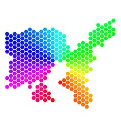 Spectrum hexagon limnos greek island map vector