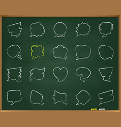 speech bubble chalk draw line icons set vector image