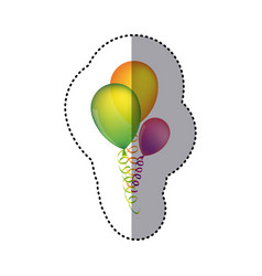 Sticker multicolored balloons with serpentine vector