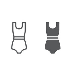 swimming suit line and glyph icon clothing and vector image