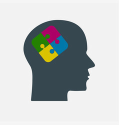 The colorful puzzle piece head jigsaw vector