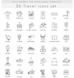 Travel ultra modern outline line icons for vector