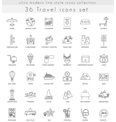 travel ultra modern outline line icons vector image
