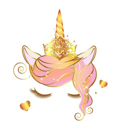 Unicorn face with closed eyes and wreath pink vector
