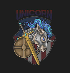 Unicorn horse war armor sword and shield vector