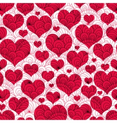 Valentine background with red hearts vector