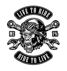 vintage custom motorcycle monochrome emblem vector image