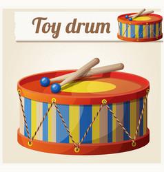 vintage toy drum 2 cartoon vector image