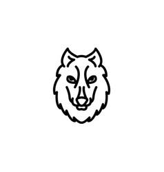 web line icon wolf wild animals black on white vector image