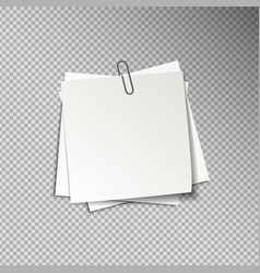 White sheets of pinned note papers vector