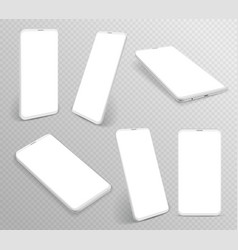 white smartphone realistic 3d cellphone in vector image