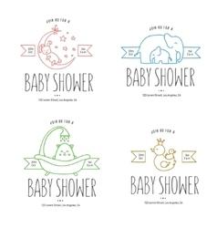 Baby shower hand drawn invitations set vector