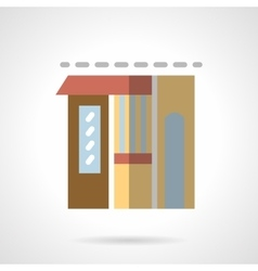 Flower shop facade flat color icon vector image vector image