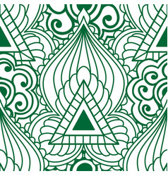 mehendi seamless pattern of green with white color vector image