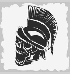 spartan warrior skull in ancient helmet vector image
