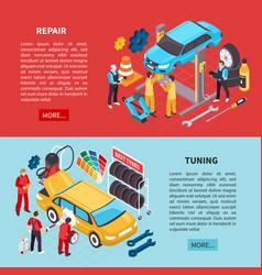 auto service banners set vector image