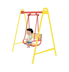 boy on swing on white background vector image