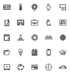 Businessman item line icons on white background vector image vector image