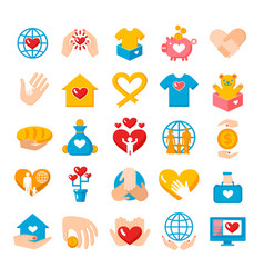 Charity donation flat icons set vector