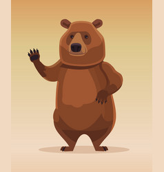 happy kind friendly bear character welcomes vector image