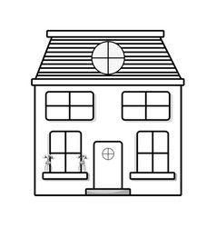 Line house with two floor to have a good home vector