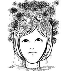 Woman head full of nightmares vector image vector image
