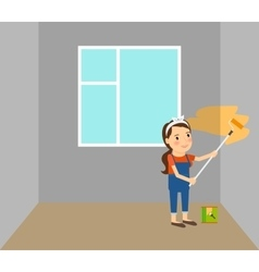 Woman making repairs in home vector image vector image