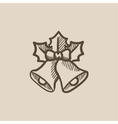 Christmas bells sketch icon vector image vector image