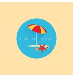 Time to travel icon with umbrella vector image vector image