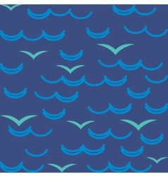 Waves and seagulls in blue colors Seamless pattern vector image