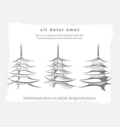 asian pagoda set on vintage backdrop vector image