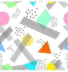 colorful seamless pattern in memphis style vector image vector image