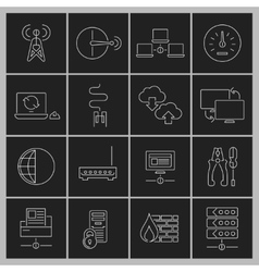Network icons set outline vector image vector image