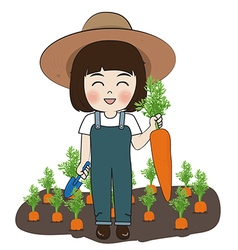 planter and carrots vector image