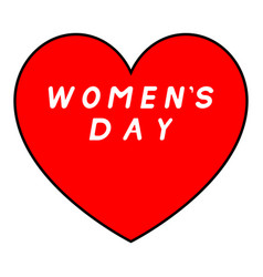 red heart with black path for womens day with vector image vector image