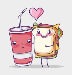sandwich and soda cup kawaii cartoon vector image