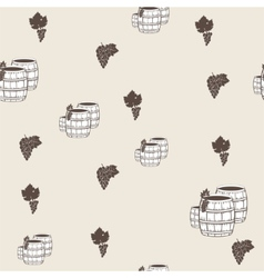 seamless pattern with wine barrels vector image vector image