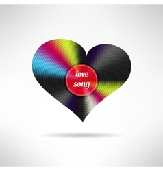 Vinyl heart shape Love song vector image