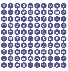 100 strategy icons hexagon purple vector