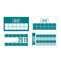 2019 new year calendar set in clean minimal table vector image