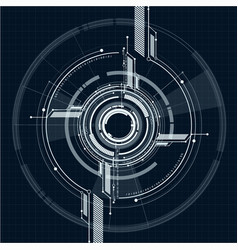 Abstract technological interface on grid style vector